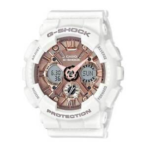 Casio-Women-039-s-Watch-G-Shock-Rose-Gold-Dial-Dive-White-Strap-GMAS120MF-7A2