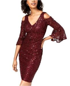 14c07585f3f  359 NIGHTWAY WOMENS WINE RED SEQUINED BELL-SLEEVE SHEATH COCKTAIL ...