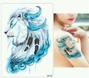 4cb448e65 BLUE LION CHEIF Temporary Tattoo A5 Body Art Adults Tattoos Cats ...
