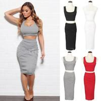 Sexy Dress Crop Top Midi Pencil Skirt High Waist Two 2 Piece Bodycon Bandage Set