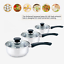 6Pcs Stainless Steel Induction Hob Saucepan Pot Set Glass Lids Cooking Cookware