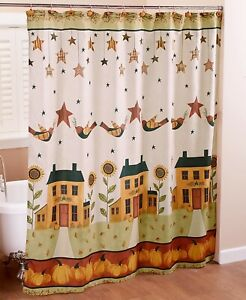 Details about Shower Curtain Country Harvest Sunflower Pumpkins Birds Fall  Bathroom Decor