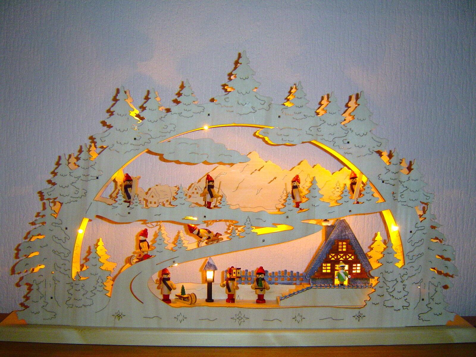 LED Arc à lumière à bougies 3D Maison mit 10 enfants d'HIVER 78x 46 cm 10000