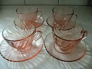 Vintage Pink Arcoroc France Vintage Glass 8 Piece Set of Arcoroc France Pink Swirl Glass Cups and Saucers 4 Cups and 4 Saucers