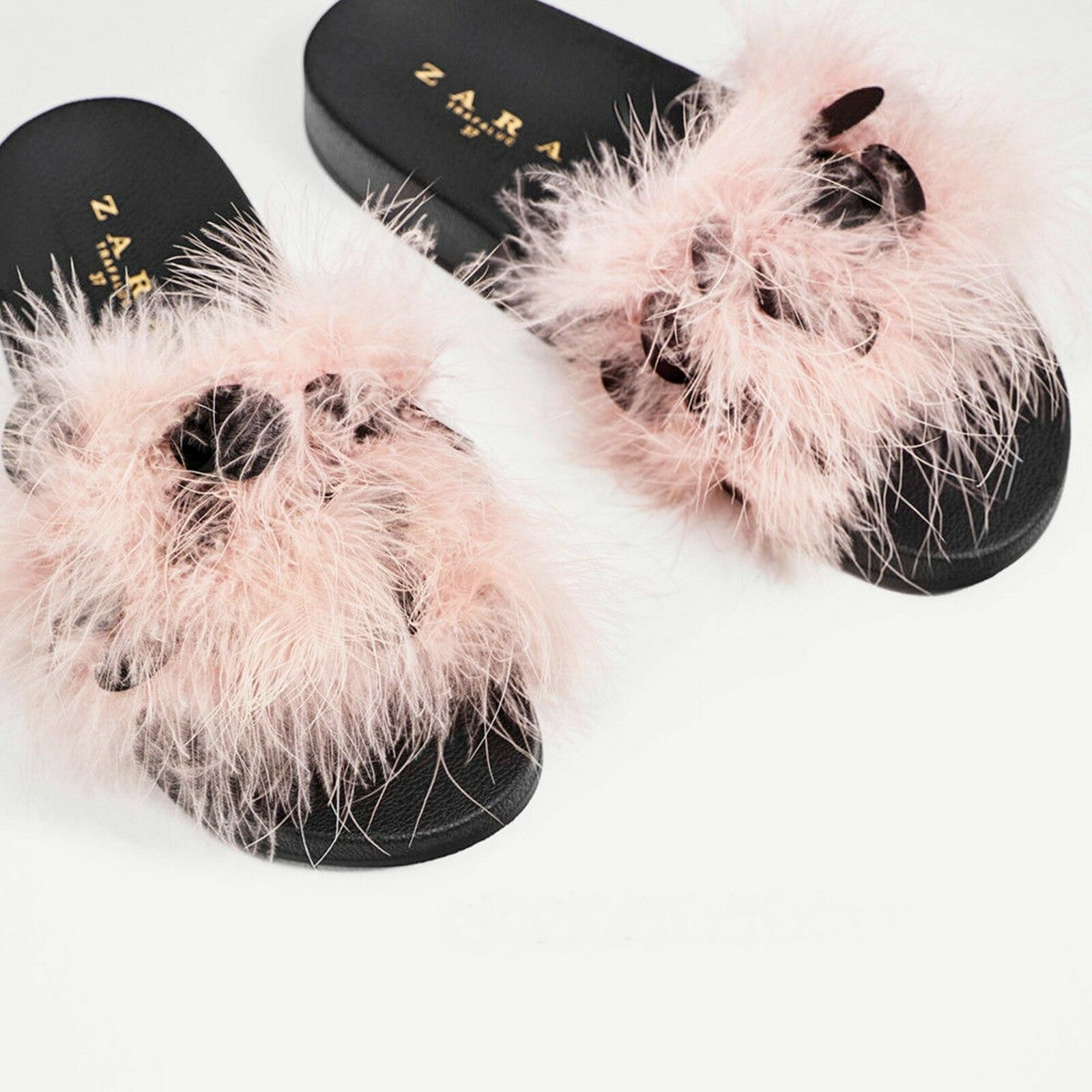 ZARA PINK FLUFFY MULES FEATHERS EMBELLISHED SLIDES SIZE 5 UK UK 5 38 EU 7.5 US 1f4132