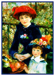Renoir-039-s-2-Sisters-on-The-Terrace-Counted-Cross-Stitch-Chart-Pattern