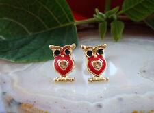 Ohrstecker Eule owl blut rot emailliert gold farbig vergoldet Ohrring