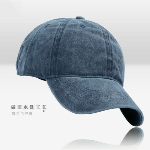 Men Plain Washed Cap Style Cotton Adjustable Baseball Cap Blank Solid Hat Casual