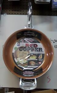 Telebrands Red Copper 12 Quot Inch Frying Pan As Seen On Tv