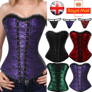 60a112ee5202c UK Women Bustier Waist Trainer Tummy Lace Up Corset Overbust Body ...