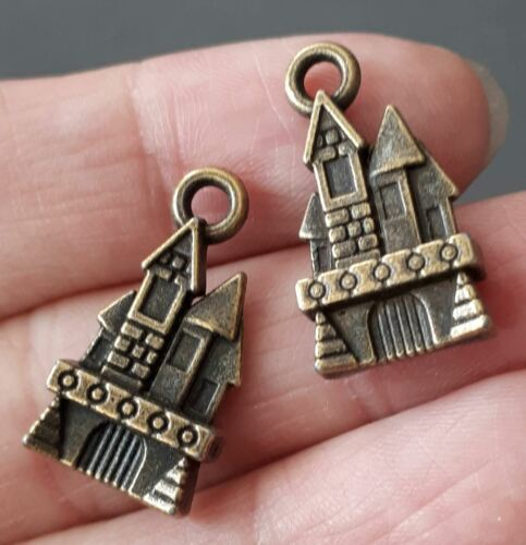 6pcs-2 sided Castle charm-brass tone castle Charm,vacation charm,home town charm