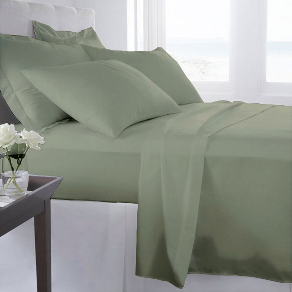 1200 Thread Count 100% Egyptian Cotton Bed Sheet Set 1200 TC TWIN Sage Solid