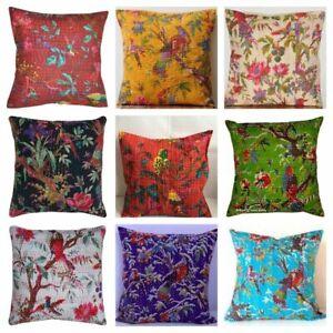 New-Indian-Bird-Cotton-Kantha-Cushion-Cover-Handmade-Bed-Pillow-Case-Diwali-Gift