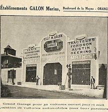 ORANGE GARAGE MARIUS GALON FORD MATHIS FORDSON PUBLICITE ADVERTISING 1920 ?