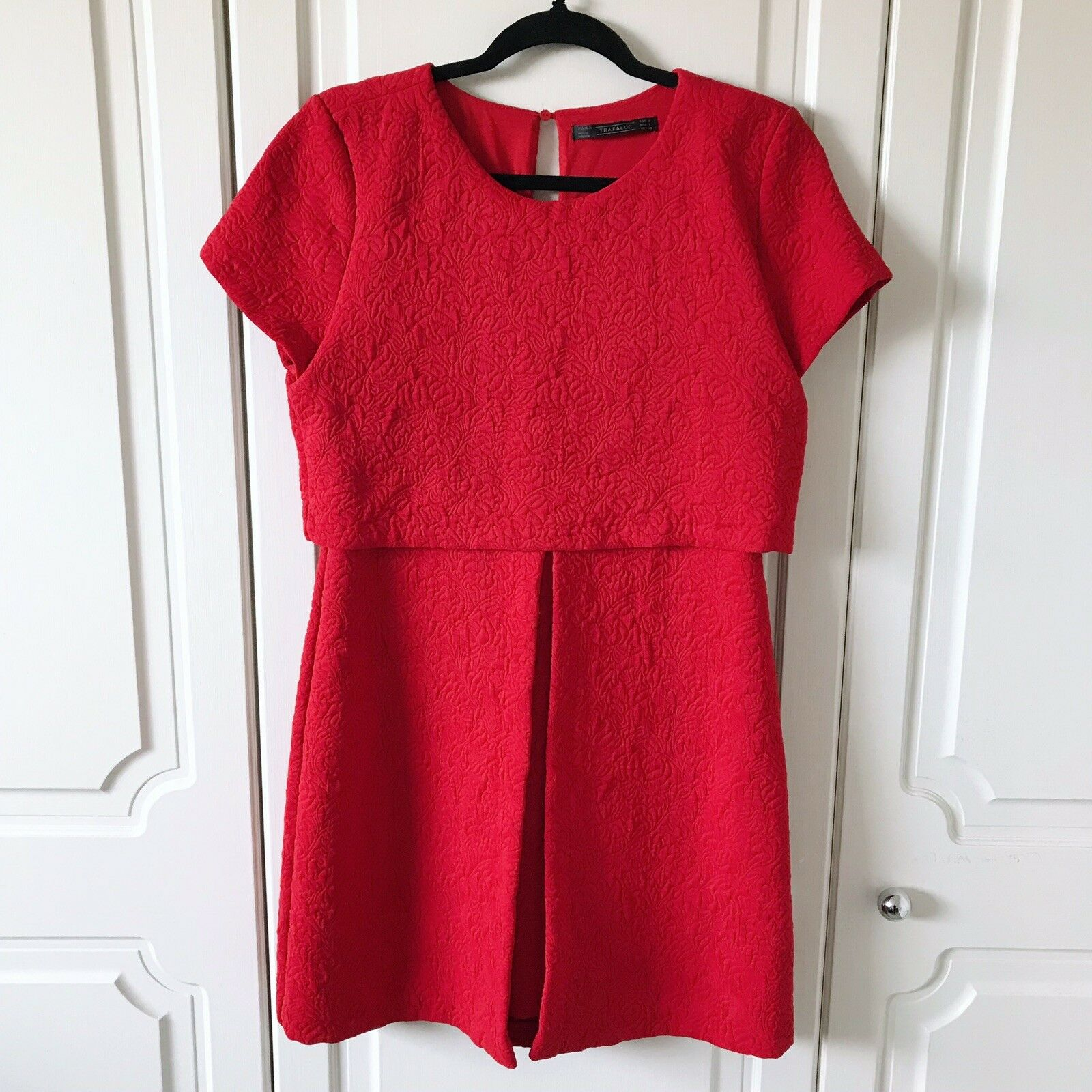 Zara Trafaluc Red Jacquard Layered Mini Dress Size L   VGC Wedding   Races