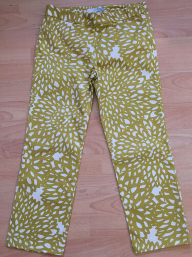 BODEN  yelow  pattern  crop cotton  trousers size 8R NEW  side zip