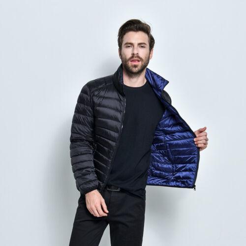 Mens Ultra Light Reversible Puffer Down Jacket Winter Short Parka Coat Plus Size