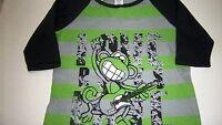 Girls Bobby Jack Adorable Gray & Green love Rocks Logo Shirt Medium 10/12