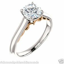 NEW Semi Mount Setting 14k White and Rose Two Tone Gold Engagement Ring Round