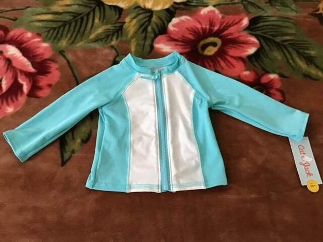 3-6M 6-9M Cat /& Jack Baby Boys White /& Blue Long Sleeve Whales Rash Guard Shirt