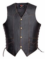 Men Motorcycle Leather Vest Vintage Classic Distressed American Eagle V119