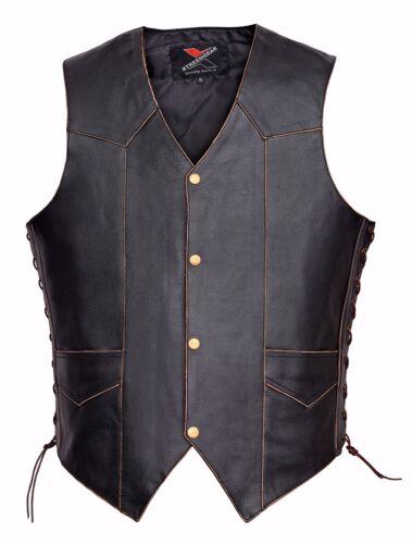 Men Motorcycle Leather Vest Vintage Classic Distressed American Eagle V119