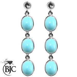 BJC-argento-sterling-TURCHESE-NATURALE-OVALE-TRIPLO-pendente-pendente-orecchini