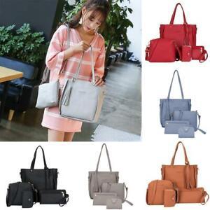 4pcs-Set-Lady-PU-Leather-Handbag-Shoulder-Bags-Tote-Purse-Messenger-Satchel-M3P1