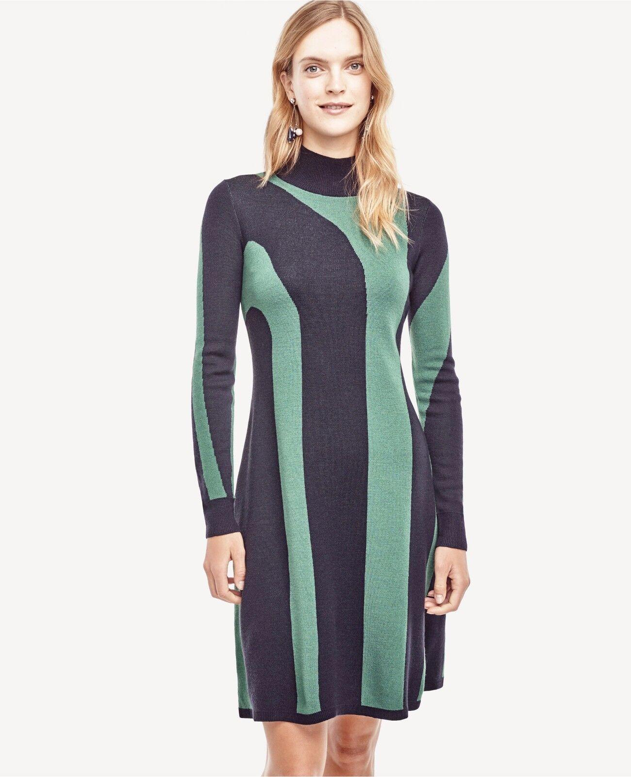 NWT ANN TAYLOR Abstract Stripe Mock Neck Sweater Dress Medium RV