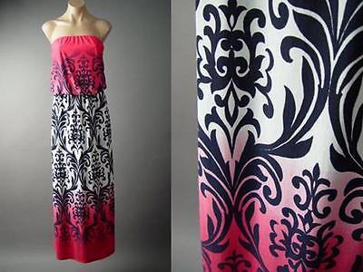 Tropical Island Ombre Damask Art Nouveau Tapestry Long Maxi 135 mv Dress S M L