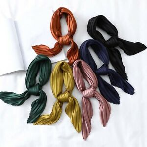 Women-039-s-Small-Silk-Square-Scarf-Crinkle-Hair-Scarfs-for-Ladies-Pleated-Scarves-k