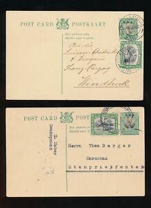 SOUTH WEST AFRICA 1930 STATIONERY UPRATED SWAKOPMUND BATHS + OKAHANDJA...2 CARDS