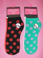 Isaac Mizrahi York Anklets 2 Pair Red & Black Green & Purple Polka Dots Chic