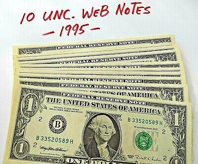 1995 $1 Web Note BH Run  Run 6  6//8   Choice Unc Not all Consecutive