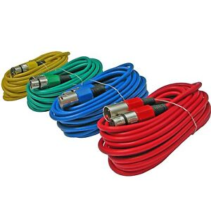 4 pack lot multi mixed color 20 ft foot 3pin xlr mic microphone audio cable cord 817375012510 ebay. Black Bedroom Furniture Sets. Home Design Ideas