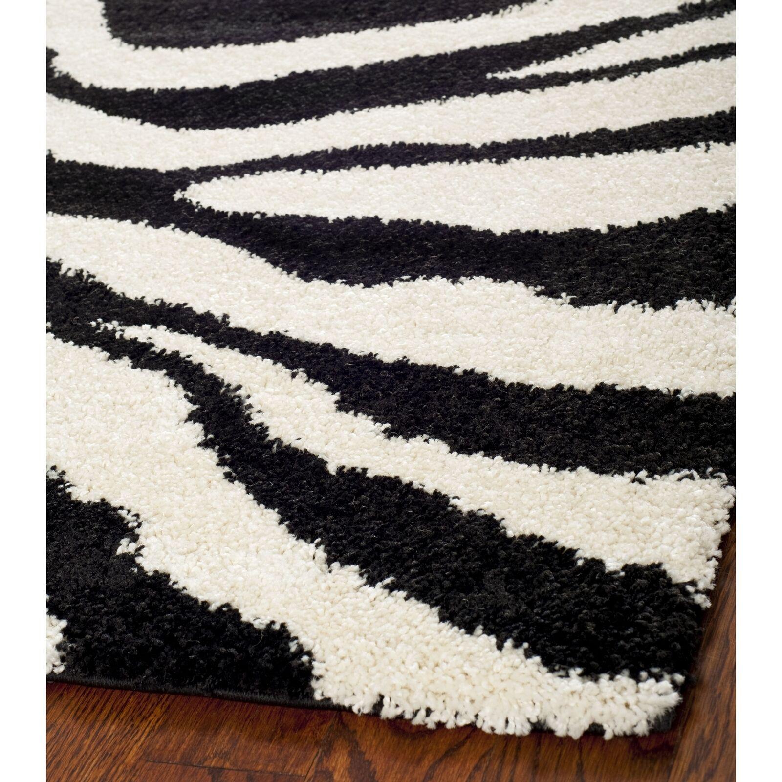Safavieh Power Loomed Ivory Black Shag Area Rugs Sg452 1290 For Sale Online