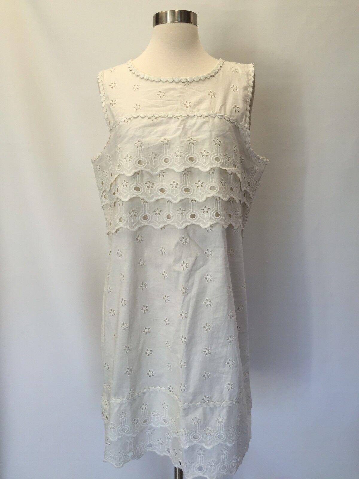 NWT J.Crew Tierot Eyelet Dress Lace Shift Ivory Größe 12 G8475