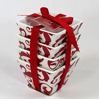 Ciroa Fiori Red 4 Square Mini Bowl Set 4pc Stackable Simple Serve Porcelain