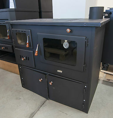 Wood Burning Stove Cooker Cast Iron Top Solid Fuel Oven with Boiler 16KW DOORS