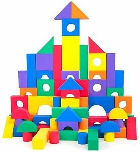 100pc Rainbow Wonder Blocks Kids Non-Toxic Non-Recycled Foam Building Blocks