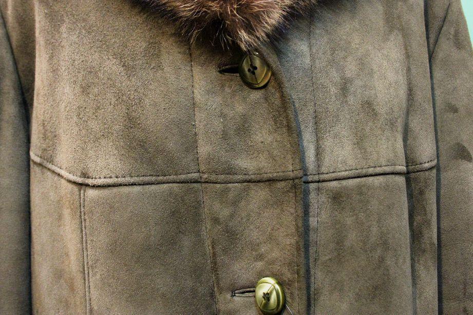 Traumhafter  Lamm-Fell Mantel shearling shearling shearling Gr 48 Kürschner echt Leder green-brown 20a598