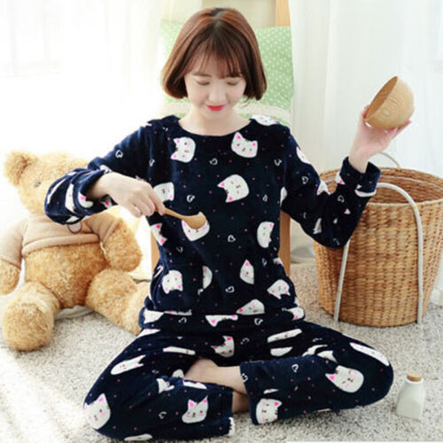 2XL Womens Winter Pajamas Flannel Coral Velvet Warm Nightgown Cute Sleepwear S