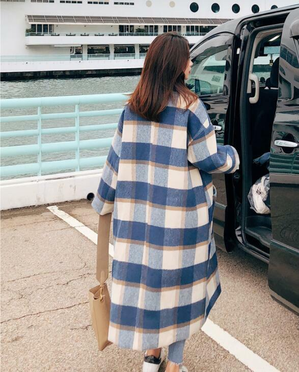 Winter Women Fashion Lapel Double-breasted Plaid Overcoat Overcoat Overcoat Casual Loose Coat Y674 4fafb9