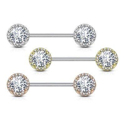 Nipple Ring Bars Double Arrow CZ Body Jewelry Pair 14 gauge 5//8/'/' BAR pair