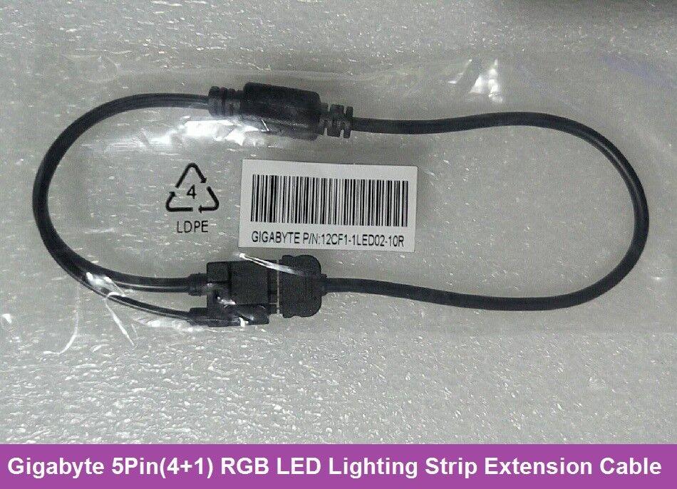 Gigabyte 5Pin(4+1) RGB LED Lighting Strip Extension Cable Cord 12CF1 ...