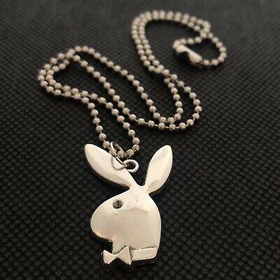 "Silver Round Playboy Bunny Rabbit Animals Pendant 24/"" 61cm Ball Chain Necklace"