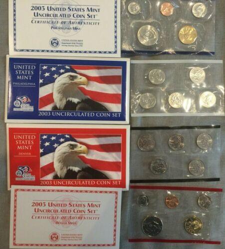 2003 Uncirculated U.S Mint Denver /& Philadelphia Sets~20 coins