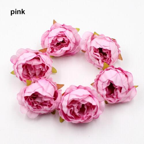 5//10pcs Silk Peony Rose Flower Heads Bridal Wedding Bouquet Home Office Decor~