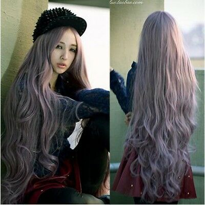 new fashion 100cm long curly wave full hair wigs cosplay lolita party purple wig