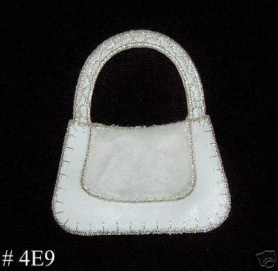 1PC~WHITE FURRY PURSE~ IRON ON EMBROIDERED PATCH